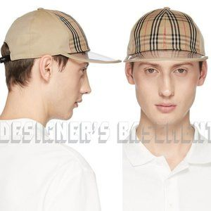 BURBERRY canvas M/L CHECK clear bill Baseball Hat